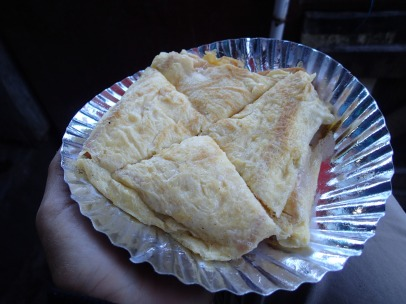 Bread omelette. Way more awesome than it looks.