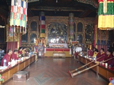These monks are part of a Buddhist sect that like to worship with cymbals, horns, gongs and all manner of noise.